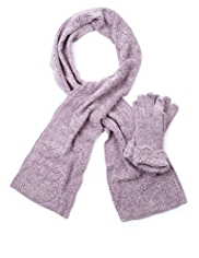 M&S Collection Pointelle Knitted Scarf & Gloves Set