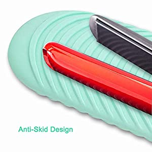 S&R Hair Iron Mat & Pouch, Professional Heat Resistant Mat for Flat Iron and Curling Iron, Portable Silicone Travel Hair Straightener Mat and Cover for Hot Hair Styling Tools (Color: Green)