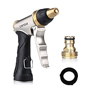 Crenova? High Pressure Garden Hose Nozzle Sprayer Car Wash Gun Fire Hose Nozzle 3/4 inch Designed for Car Washing, Garden/Lawn Watering, Room/Deck/Floor Cleaning, Putting out Fire in Emergency ¡­