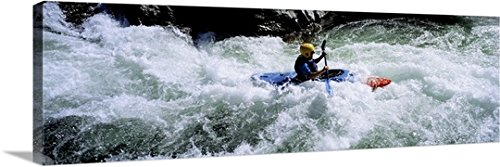 Premium Outdoor Canvas Wall Art Print entitled Kayaker Trinity River CA (Trinity River Ca compare prices)