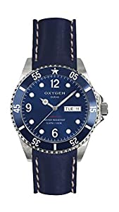 Oxygen Atlantic 36 Unisex Quartz Watch with Blue Dial Analogue Display and Blue Leather Strap EX-D-ATL-36-CL-NA