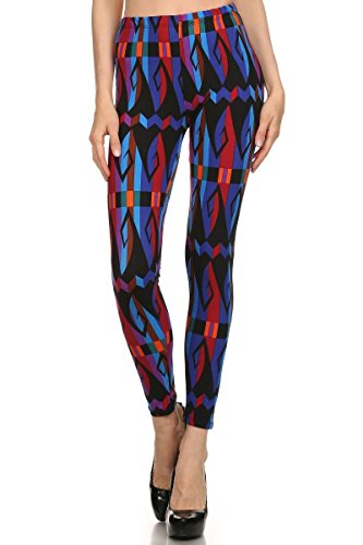 Always Women's High Waisted Abstract Tribal Printed Leggings - Purple
