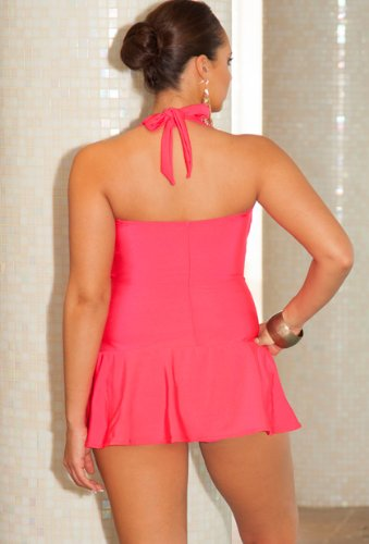 Infinity Blu Coral Plus Size Bandeau/Halter Twist Front Swimdress Plus Size Swimsuit