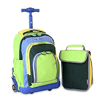 J World New York Lollipop Kids' Rolling Backpack with Lunch Bag, Neon Green, One Size