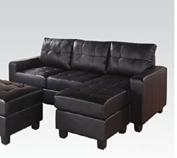 Lyssa Black Set Sectional with Ottoman