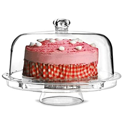 Multifunctional 5 in 1 Cake Stand and Dome   dine@drinkstuff Cake Dome, Punch Bowl, Salad Bowl, Chip & Dip Server, Serving Stand, Food Dome