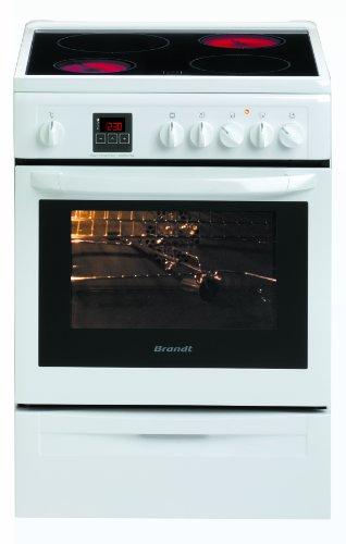 Brandt KVC960W Cuisinière Vitrocéramique Largeur : 60 cm Classe: A Blanc et Noir