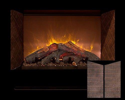 "Modern Flames Hf42Cbi Built In Electric Red Straight Brick Panels 42"" Fireplace /W Log Burners"