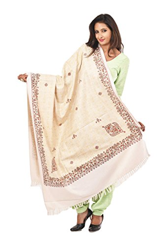 Weavers Villa - Women's PolyCotton Cream Printed Shawls ,Stoles