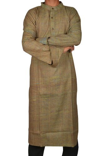 Traditional Handmade Casual Wear Indian Khadi Long Mens Kurta Fabric For Winter & Summers Size 9XL