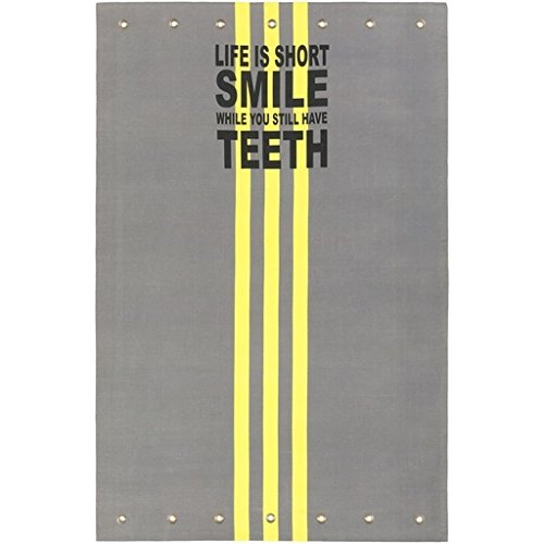 "4' X 6' ""Life Is Short, Smile..."" Electric Yellow And Charcoal Gray Hand Crafted Area Throw Rug"