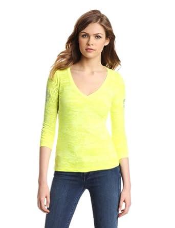 Wrangler Women's Fashion Long Sleeve Shirt, Neon Yellow, Large