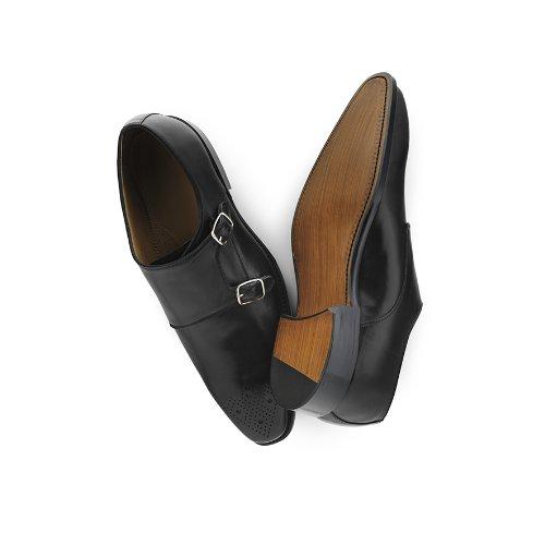 Prime Shoes Andechs Rahmengenäht Farbe Schwarz Doppelmonk aus feinsten Kalbsleder 46.5
