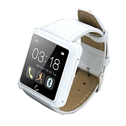 "Luxsure® 1.54"" U10 Plus Bluetooth Smart Watch Leather Strap WristWatch UWatch Phone Mate Sync SMS for IOS Android (White)"