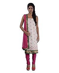 Mumtaz Sons Women's Cotton Unstitched Dress Material (MS111458A,Magenta)