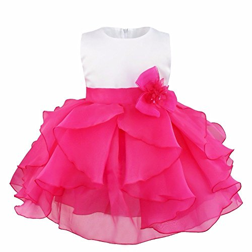 FEESHOW Baby Girls Organza Ruffle Wedding Party Christening Baptism Flower Dress Rose 3-6 Months