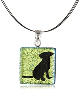 Sterling Silver Dichroic Glass Multi-Color Dog Pattern Square-Shaped Pendant Necklace on Stainless Steel Wire, 18""