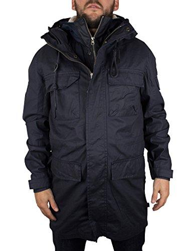 Bellfield Uomo Cardin 3 in 1 Jacket Parka Lavato, Blu, Small