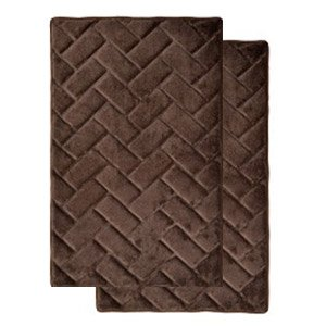 Chocolate brown memory foam bath mat rug brick design spa soft microfiber non for Chocolate brown bathroom rugs