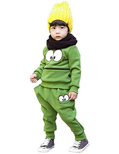 Unisex Baby Kid Smiling Face Printed Cotton Outfit Suits 2-Pc Harem Pants (2-3 Years, Green)