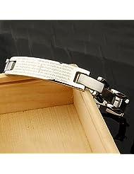 Bible Pattern Titanium Steel Bracelet Silver,
