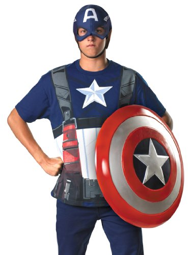 Superhero Captian America Costume T-Shirt and Mask Easy Theatrical Mens Costume