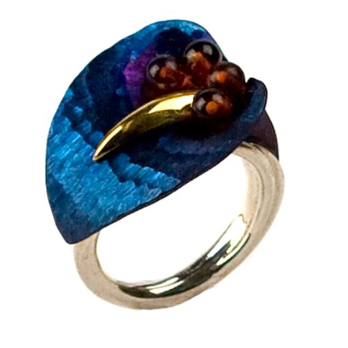 Titanium Collection Certified Genuine Baltic Honey Amber, Titanium Gold Plated 14k and Sterling Silver Floral Ring, Sizes J, L, N, P, Q, S, T, V