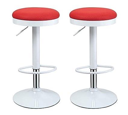 Duhome 0152 Lot de 2 tabourets de bar avec revêtement de l'assise en maille Rouge