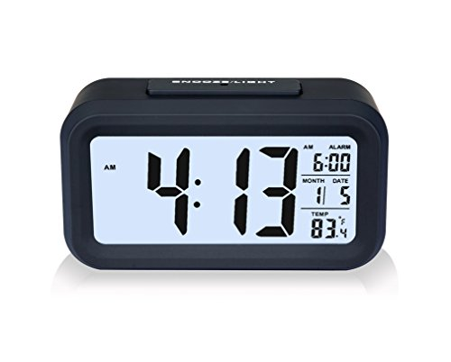"[LUXURY] ZHPUAT 5.3"" Digital Alarm Clock, Large HD Display, Snooze, Smart Soft Light, Progressive Alarm, Battery Operated, Simple Setting, Temperature Display, Easy for Travel (Black)"