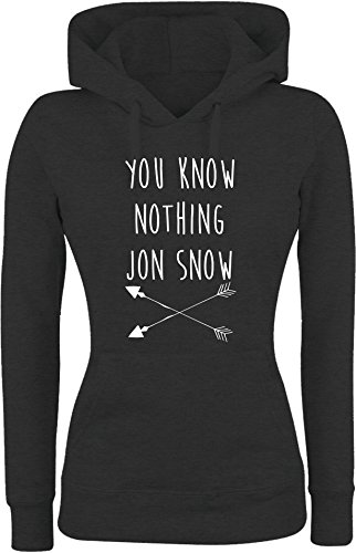 Felpa DONNA Con Cappuccio BASIC top qualità top vestibilità - YOU KNOW NOTHING JON SNOW divertenti humor MADE IN ITALY (M, NERO)