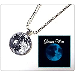 Glow in the Dark Full Moon Necklace - Glowing Moon Custom Blue Moon or Black and White Moon Pendant