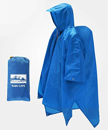 レインコート、シート、タープとしても。キャンプやトレッキング、登山時の不意の雨対策、また屋外でのライブでも活躍するポンチョです。「MG TRAIL レインケープ(ブルー)」