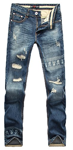 Allonly Men's Printed Skull Ripped Distressed Wash Denim Jeans Trousers Pants