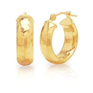 Duragold 14k Yellow Gold Half Round Diamond-Cut Hoop Earrings