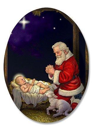 """Kneeling Santa in Manger Humble Adoration Infant Christ 3"""" Oval Christmas Home Kitchen Refrigerator Magnet"""