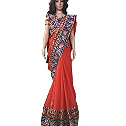 Red Designer georgette With Embroidered lehenga Saree.