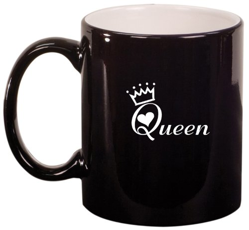 Black Ceramic Coffee Tea Mug Queen With Crown