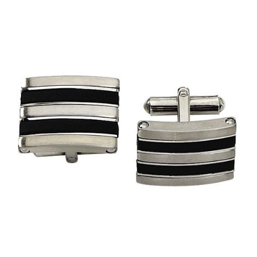Men's Stainless Steel and Black Rubber Cuff Links