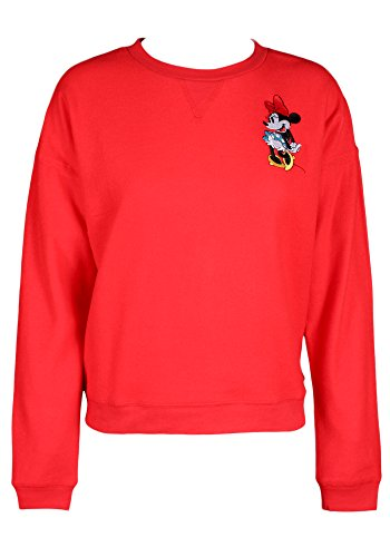 Disney's Licensed Women's Vintage Classic Minnie and Mickey Mouse Sweatshirt-Red Vintage Minnie-M