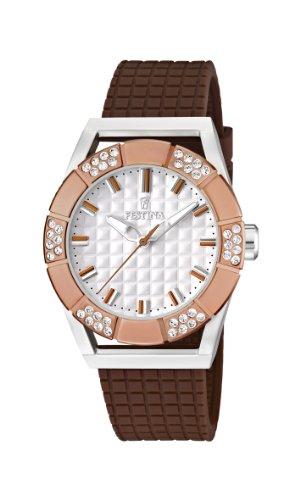 Festina Dream Time - Reloj analógico de mujer de cuarzo con correa de plástico marrón