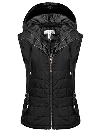 ANGVNS New Women Lightweight Quilted Zip Up Vest With Detachable Hood (Lightweight Black Hood compare prices)