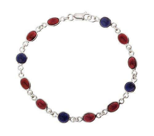 Ladies' Garnet Bracelet, Silver, 20cm Length, Model B03/B234GA/IOL