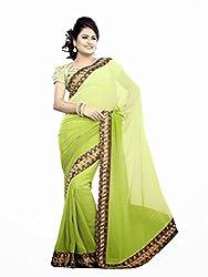 Offo Deals Womens Chiffon Saree( TM-47_Green_Freesize)