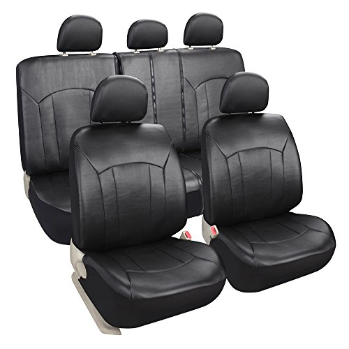 Leader Accessories Exquisite Imitation Leather Car Seat Covers, Airbag compatible and Rear Split Black Color (Split Rear Seat Covers compare prices)