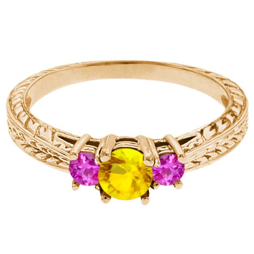 0.62 Ct Round Yellow Sapphire Pink Sapphire 18K Yellow Gold 3-Stone Ring