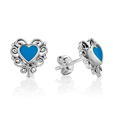 Sterling Silver Deep Blue Lapis Lazuli Gemstone Inlay Heart Shaped Filigree Earrings 11 mm Fashion Jewelry
