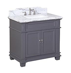 Elizabeth 36 Inch Bathroom Vanity Carrara Charcoal Gray