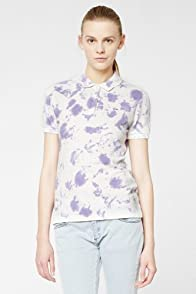 L!VE Short Sleeve Stretch Splatter Painted Pique Polo