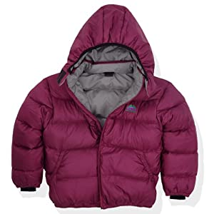Molehill Kids Down Hooded Jacket (700 Down Fill), Berry, 3T