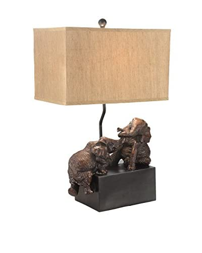 Fox Hill Trading Playing Elephant Table Lamp, Brown